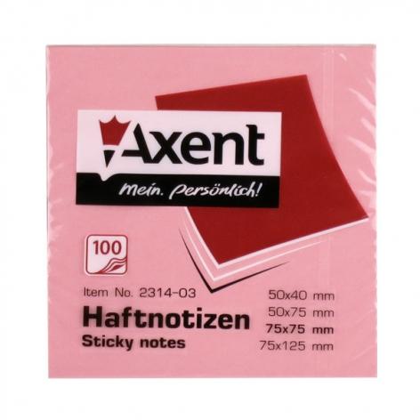 Блок для заметок 75 х 75 мм 100 л. AXENT 2314-03-A розовый пастельный