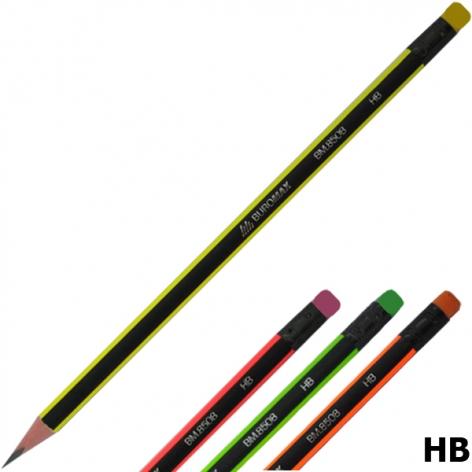 Карандаш графитный NEON твердомягкий HB трехгранный корпус с ластиком, Buromax BM.8508