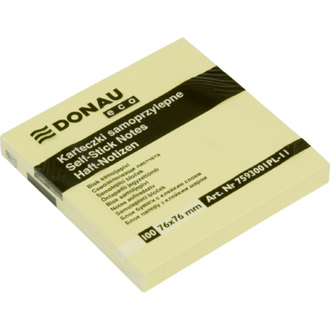 Стикеры бумажные  76 х 76 мм, 100 л. Donau 7593001PL желтый пастельный