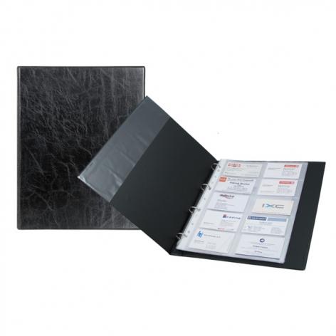 Визитница А4 на 200 визиток с кольцевым механизмом Xepter AXENT 2504-01-A черный