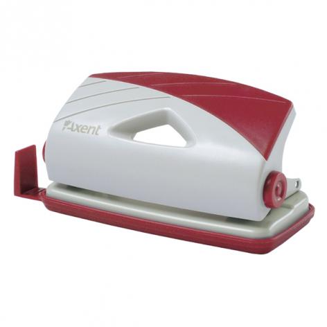 Дырокол на 10 л. пластиковый с линейкой Axent 3710-06-A серо-бордовый