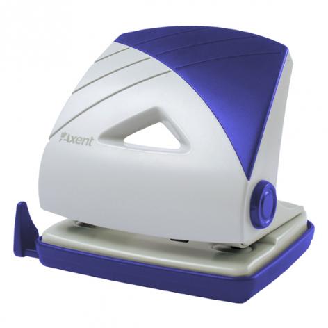 Дырокол на 25 л. пластиковый с линейкой Axent 3725-02-A серо-синий