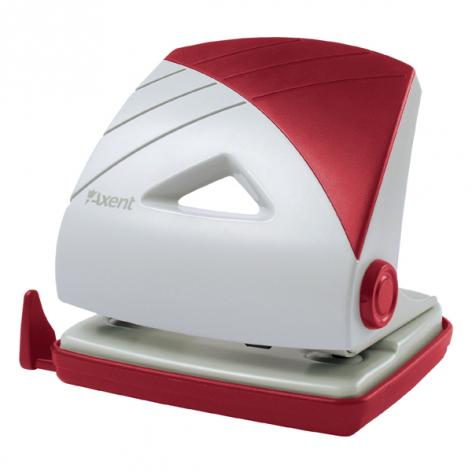 Дырокол на 25 л. пластиковый с линейкой Axent 3725-06-A серо-бордовый