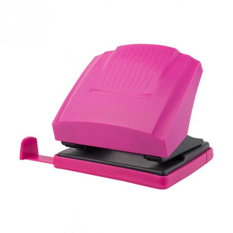 Дырокол на 30 л. пластиковый с линейкой  Shell Axent 3430-10-A розовый