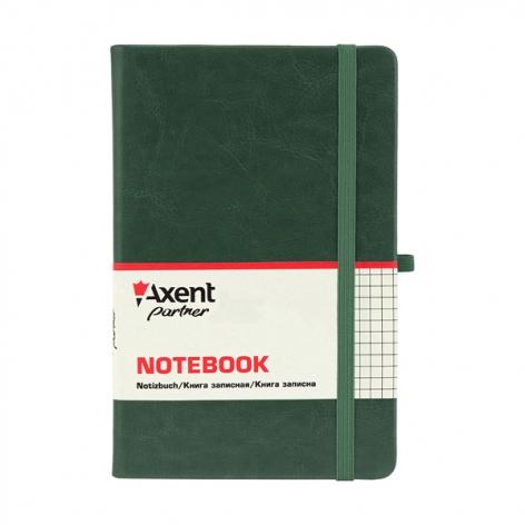 Записная книга Partner Lux А5- (125х195мм) на 96 листов кремовый блок в клетку Axent 8202-04-A зеленый