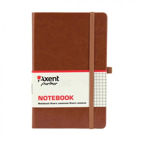 Записная книга Partner Lux А5- (125х195мм) на 96 листов кремовый блок в клетку Axent 8202-19-A коричневый