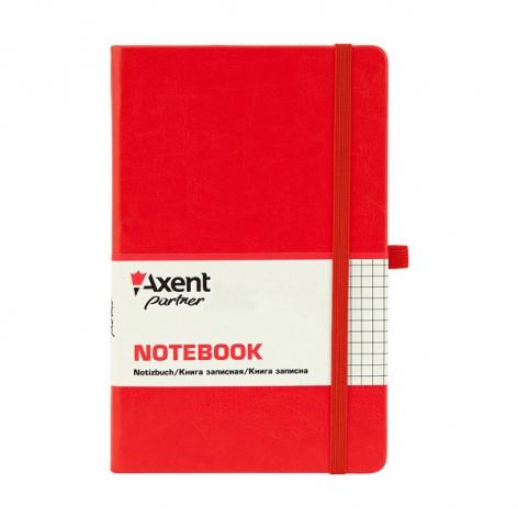 Записная книга Partner Lux А5- (125х195мм) на 96 листов кремовый блок в клетку Axent 8202-06-A красный