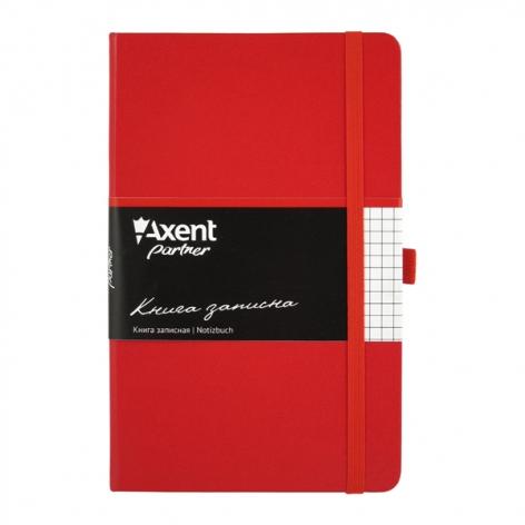 Записная книга Partner  А5-(125х195мм) на 96 листов кремовый блок в клетку Axent 8201-03-A красный