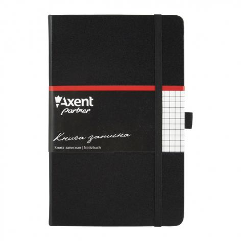 Записная книга Partner  А5-(125х195мм) на 96 листов кремовый блок в клетку Axent 8201-01-A черный