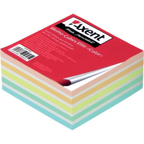 Блок цветной бумаги для записей Elite Color 9 х 9 х 4 см, склеенный Axent 8027-А
