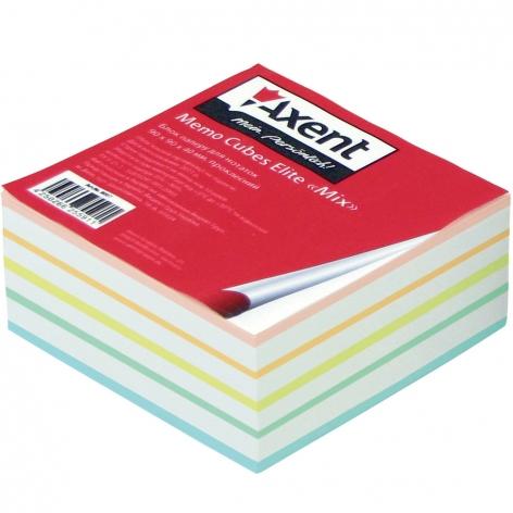 Блок бумаги для записей Elite Mix 9 х 9 х 4 см, склеенный Axent 8017-А