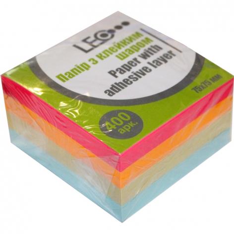 Стикеры бумажные 75 х 75 мм 400 л. (4 цвета по 100 л.)  LEO L1219 (170176)