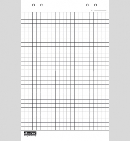 Блок бумаги для флипчартов, клетка, 10 листов, 64 х 90 см, Buromax BM.2295