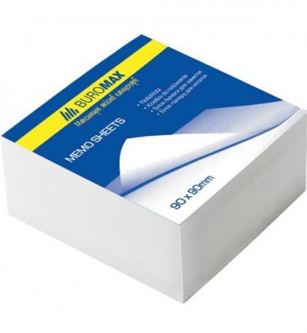 Блок белой бумаги для записей 9 х 9 см 500 листов, склеенный Вuromax BM.2214