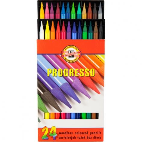 Карандаши цветные Progresso бездревесные 24 цвета в  упаковке, Koh-i-noor 875802