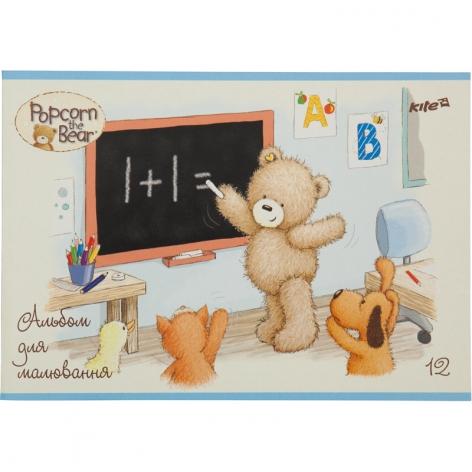 Альбом для рисования 12 листов А4 на скобе Kite Popcorn Bear PO17-241 код 34698