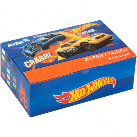 Гуашь 6 цветов по 20 мл KITE Hot Wheels HW17-062