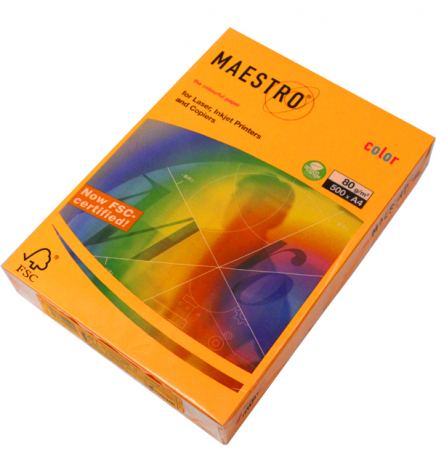 Бумага Maestro Color Neon A4 80 г/м2, 500 л Orange Neoor (оранжевый неоновый)