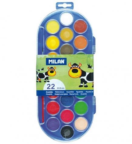 Акварель полусухая 22 цвета с кистью MILAN ml.80022