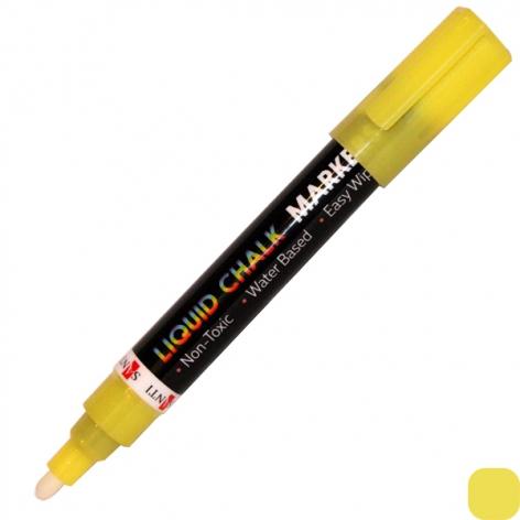 Маркер меловой желтый SANTI, клуглый и  скошенный наконечник 5 мм (390563)