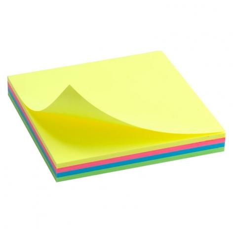 Блок бумаги с липким слоем 75x75 мм, 100 листов, 4 цвета неоновых тонов Delta by Axent D3325-02
