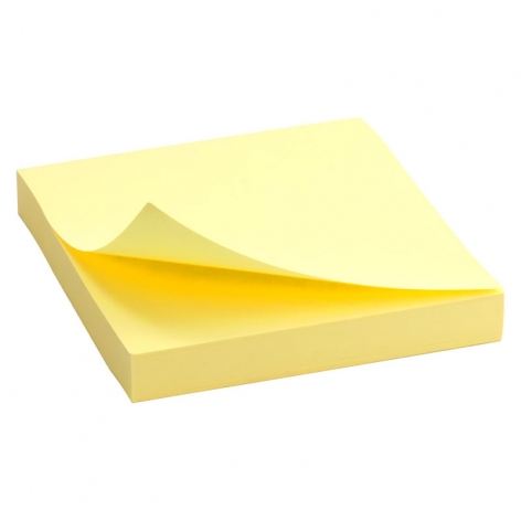 Блок бумаги с липким слоем 75x75 мм, 100 листов  Delta by Axent D3314-01 пастельный желтый