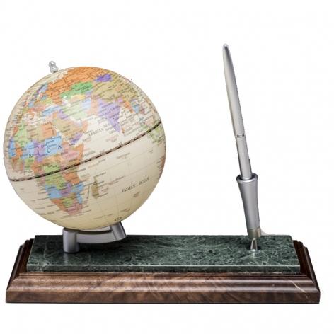 Глобус на подставке из натурального дерева и мрамора, с ручкой, орех, BESTAR 0913WDN
