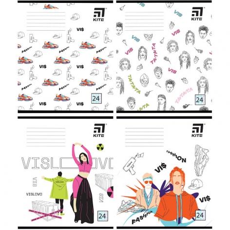 Тетрадь школьная В5 на скобе, 24 листов в клетку (комплект 4 тетради) VIS Kite лицензия