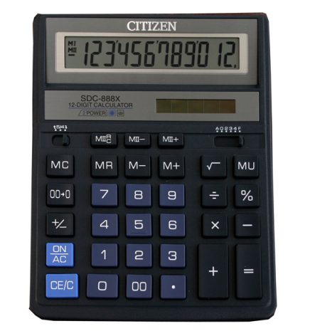 Калькулятор 12р. Citizen SDC-888XBL