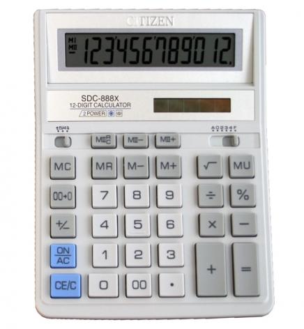 Калькулятор 12р. Citizen SDC-888XWH