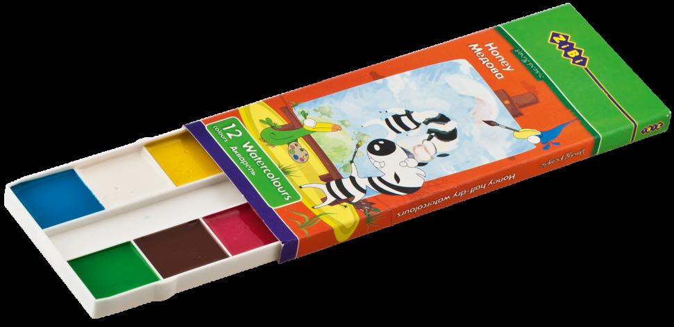 Акварельные краски 12 цветов,белая палитра KIDS Line ZIBI ZB.6501