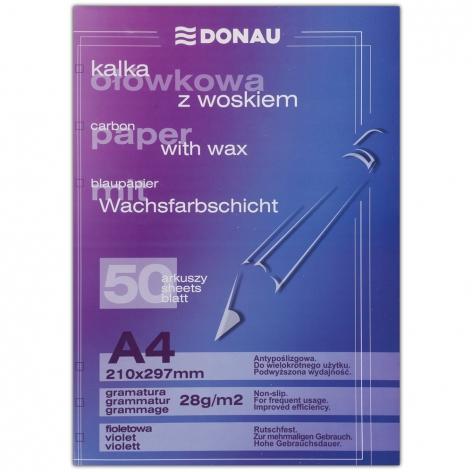 Бумага копировальная фиолетовая А4, 50 листов в упаковке, DONAU KAL0021