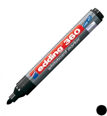 Маркер для досок, 1,5-3 мм, конусообразный наконечник, черный Edding e-360/01 заправляемый