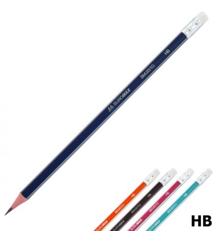 Карандаш графитный твердомягкий HB трехгранный корпус с ластиком, Buromax BM.8510