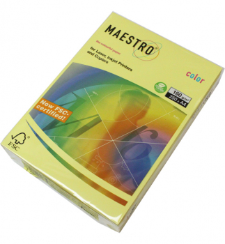 Бумага Maestro Color Trend A4 160 г/м2, 250 л Lemon Yellow (желтый) ZG34
