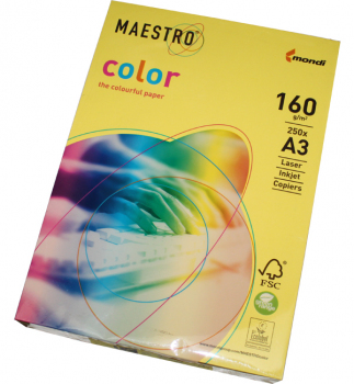 Бумага Maestro Color Intensive A3 160 г/м2, 250 л Canary Yellow (желтый) CY39
