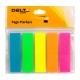 Стикер-закладка прямоугольная пластиковая неоновая 5 цветов 12 х 45 мм, 125 штук Delta by Axent D2450-01